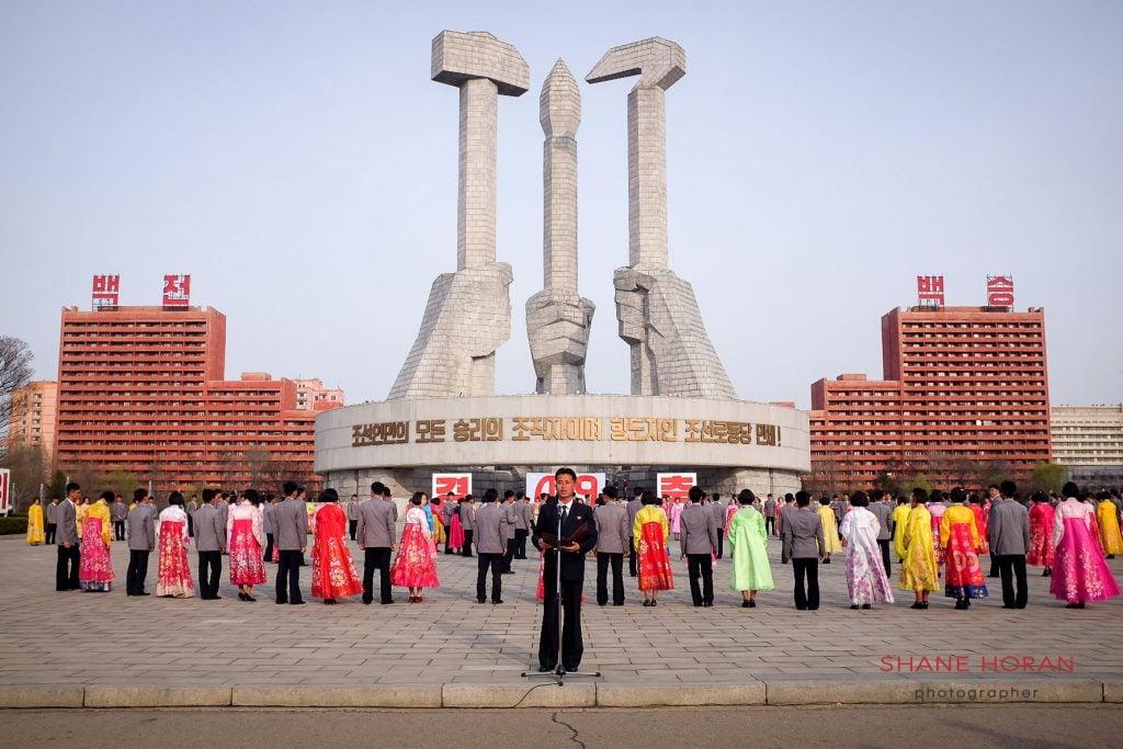 Short speech before the beginning of a mass dance, Pyongyang, North Korea
