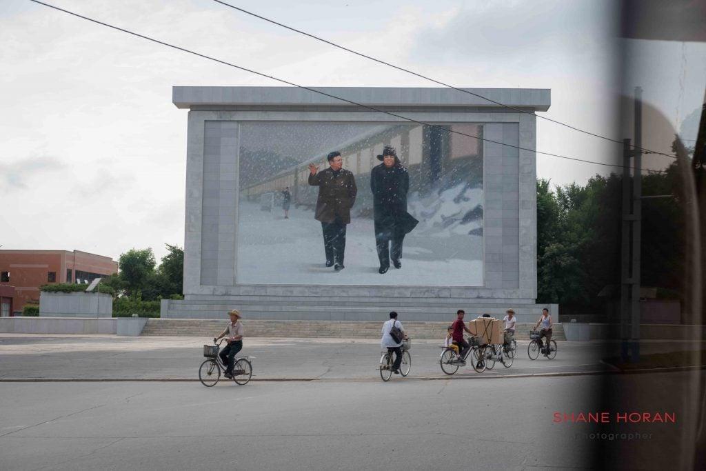 Leader mural in Sariwon, North Korea