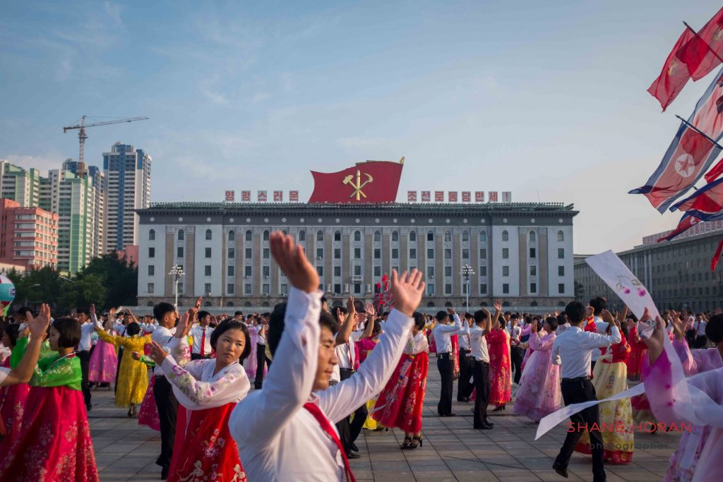 Victory day mass dance, Kim Il Sung square, Pyongyang