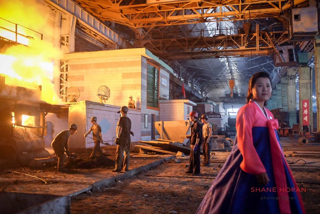 Men at work, Chollima steelworks, Pyongyang, North Korea