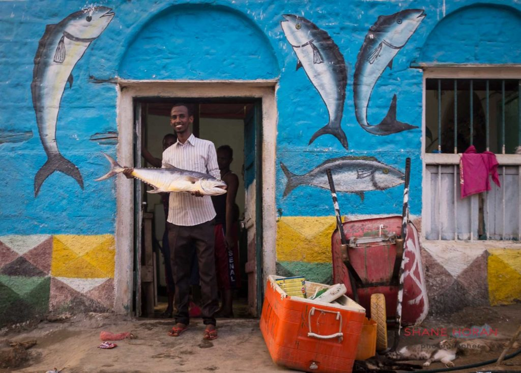 Fisherman with his catch, Berbera. Somaliland