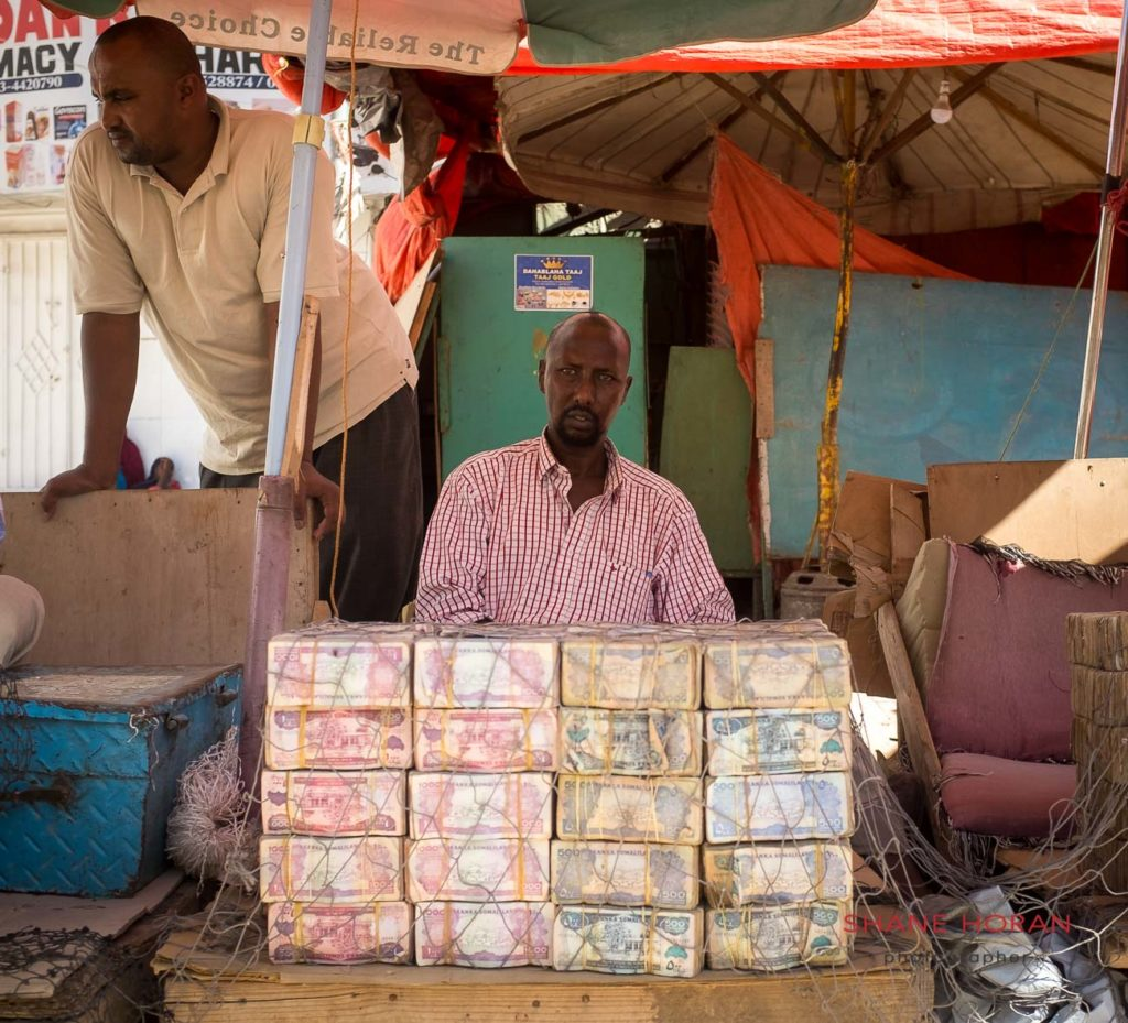Typical currency exchange office in Hargeisa, Somaliland.