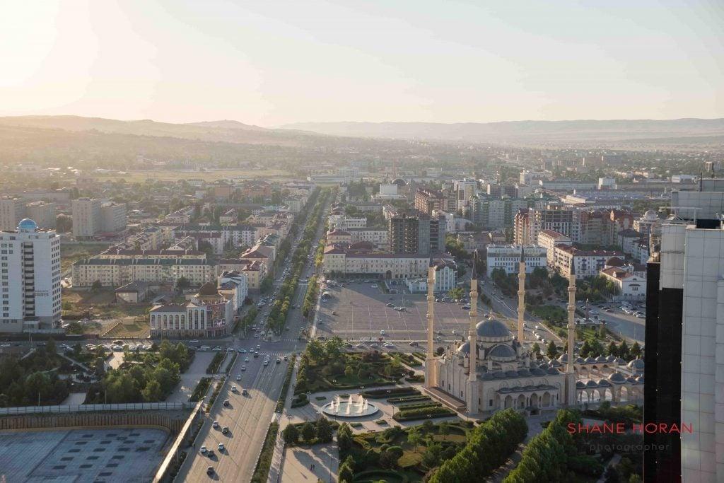 A look down Putin avenue, central Grozny, Chechnya