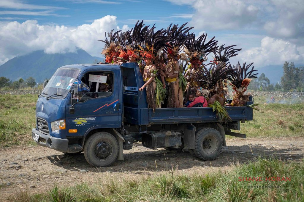 Group of local villagers arriving at the Mt Hagen show, Papua New Guinea
