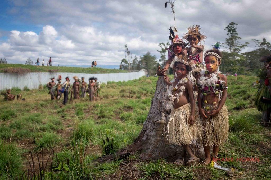Kids before the Mount Hagen Cultural Show, Papua New Guinea