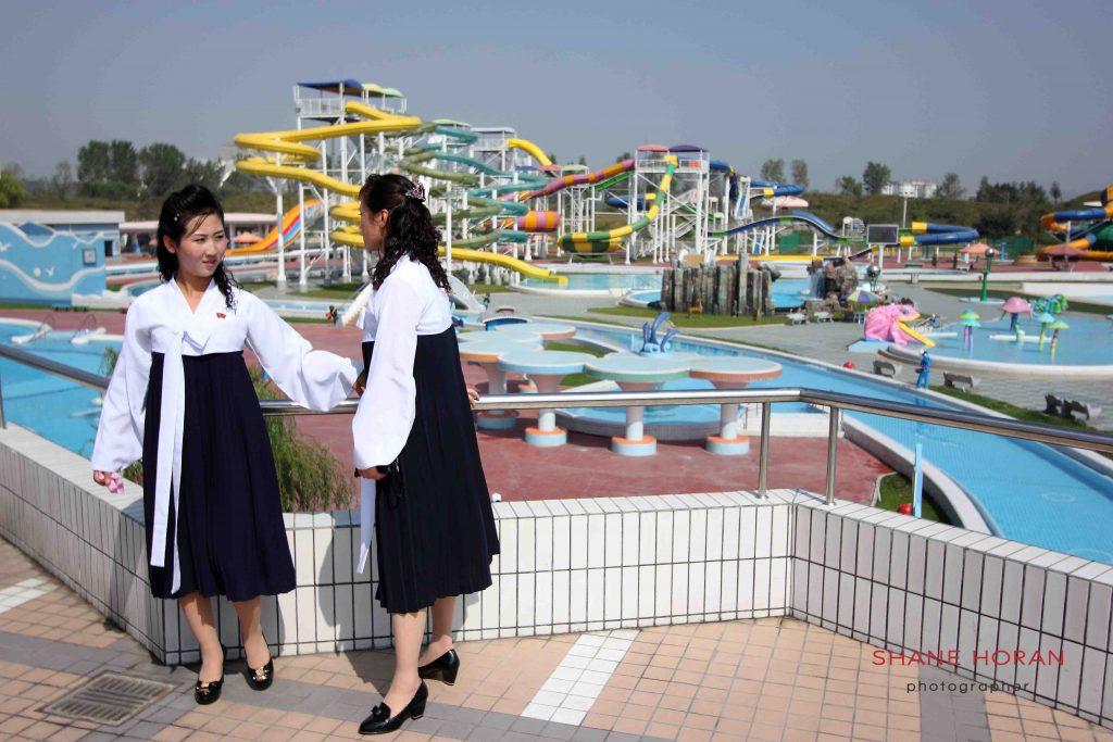 University students tour the newly opened Munsu water park, Pyongyang, North Korea.
