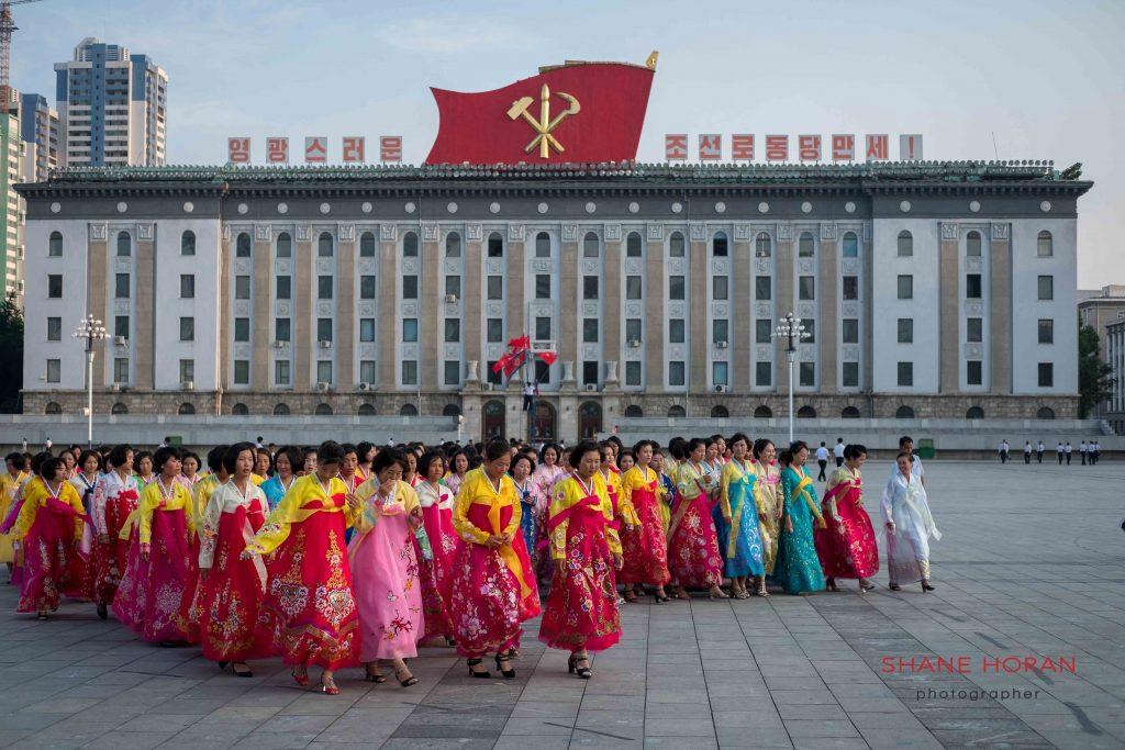 North Korean ladies in Kim Il Sung Square, Pyongyang, North Korea