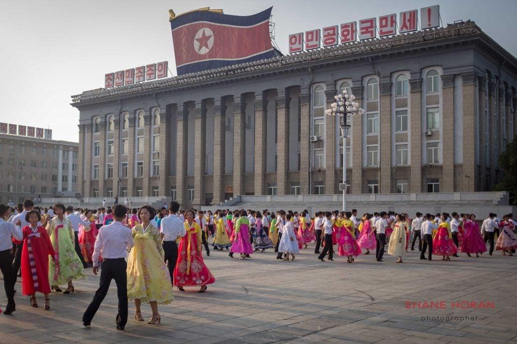 Koreans performing in central Pyongyang, North Korea